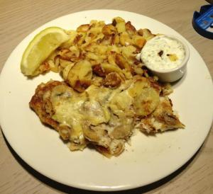 Fish with Bratkartoffeln (translate -German fish & chips!)